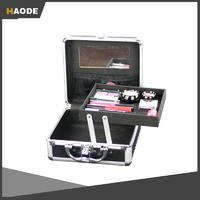 Professional Classic Black Aluminum Makeup Vanity Case With Tray And Mirror