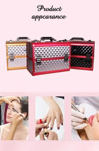 4-Tiers Extendable Trays Makeup Artist Travel Cosmetic Organizer Train Case