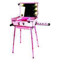 Professional Rolling Makeup Case with Lights And Music MP3